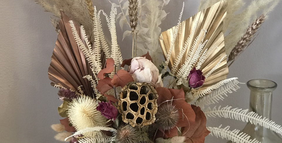 Dried Rose Gold Flower Arrangement