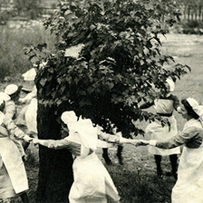1948, nurses dancing around the mulberry tree at the former London Chest Hospital, Bethnal Green