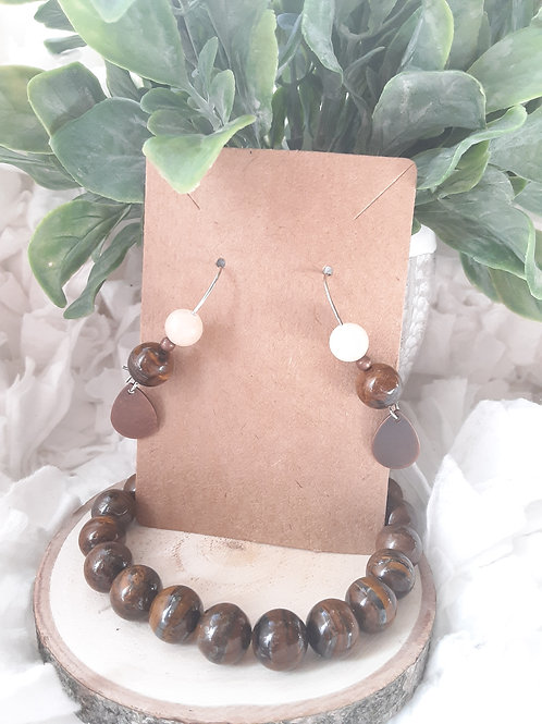 Tiger's Eye Mixed Metal Set