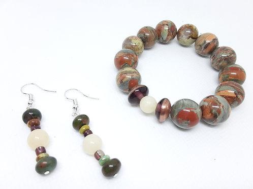 Plum Glass Stones & Mixed Bead Set