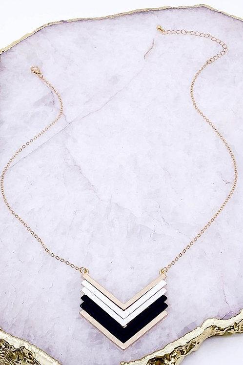 Vintage Chevron/Black & Mixed Metal Necklace