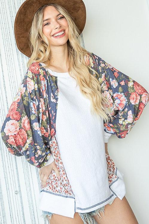 Soft Floral Patchwork Sweatshirt Knit