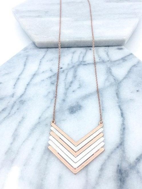 Vintage Chevron/Rose Gold Necklace