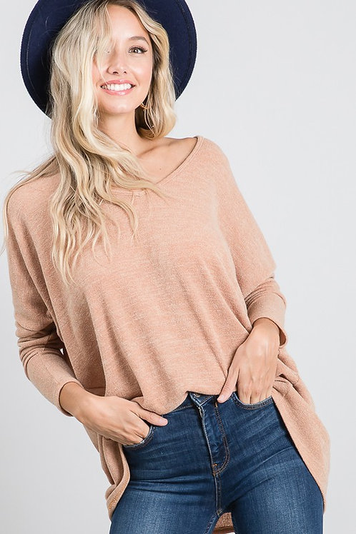 Simply Chic Camel/Tan High-Low Knit