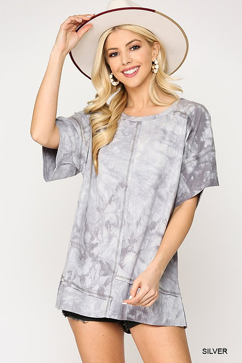 Marble Tie-Dye Cover Stitch Top