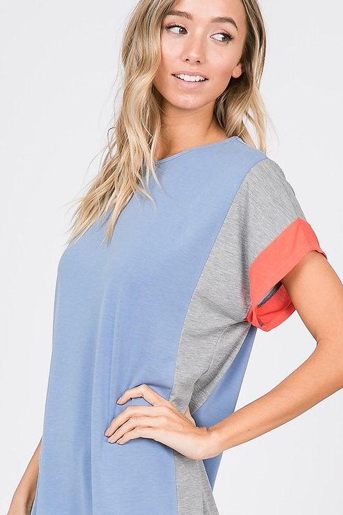 Cham-Grey with a Hint of Coral Jersey Knit