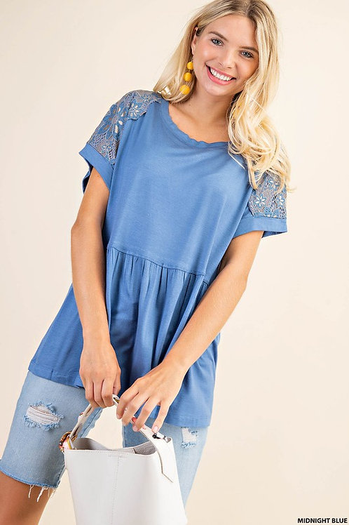 Midnight Blue Lovely Lace Tee