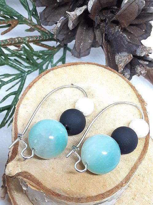 Tiffany Blue Aventurine, Matte Black, & Howlite Earrings