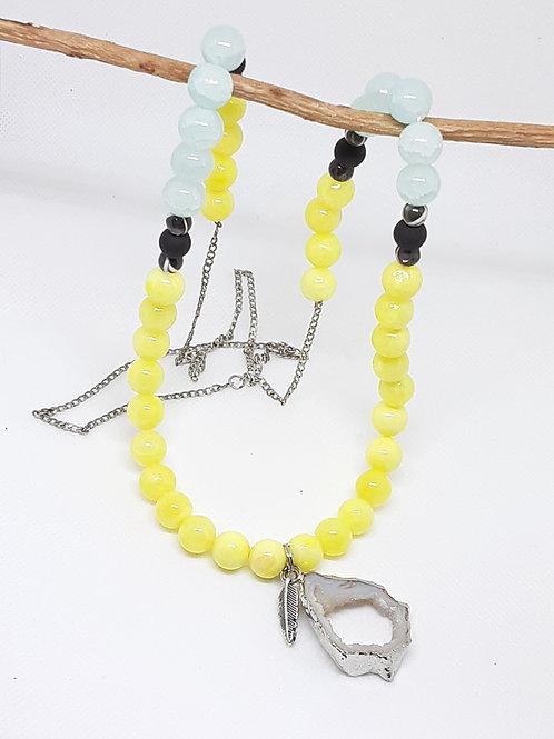 Lemon Ice, Tiffany Teal, & Matte Black Necklace