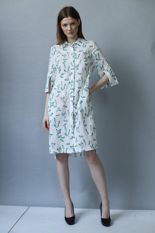 Sukienka SHIRT DRESS green bird