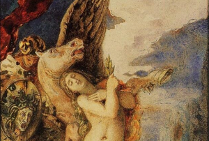 """Detail of """"Perseus and Andromeda,"""" between 1867–1869, by Gustave Moreau. Private Collection. (Public Domain)"""