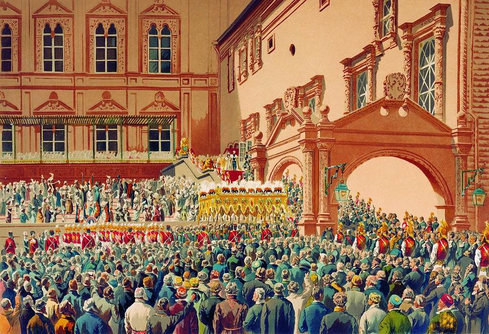俄羅斯沙皇在克里姆林宮台前