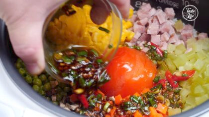 Tomato and Ham Rice   Recipe You Can Make in a Rice Cooker