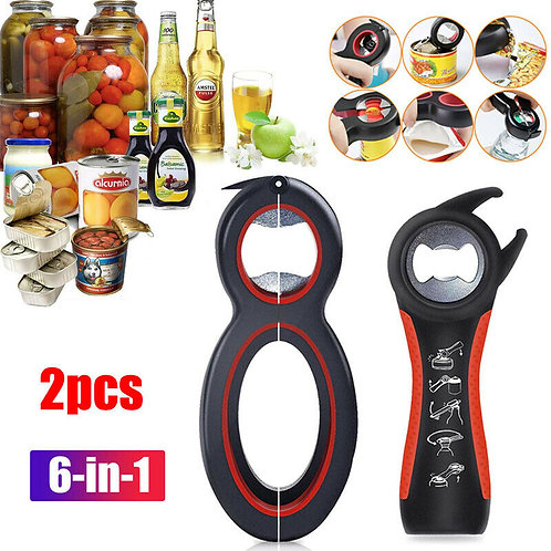 High Quality 6in1 jar Bottle Opener Kitchen Can Cap Lid Twist Off Automatic
