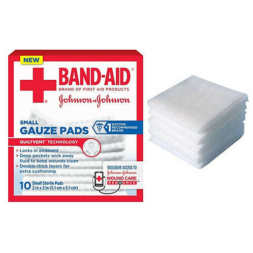 "J & J Band-Aid First Aid Gauze Pads 2"" x 2"" 10 CT. Sterile"