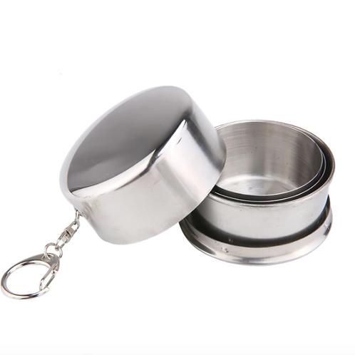 不銹鋼折疊杯 便攜式 可拆卸 可折疊杯子鑰匙扣 Stainless Steel Camping Outdoor Folding Cup