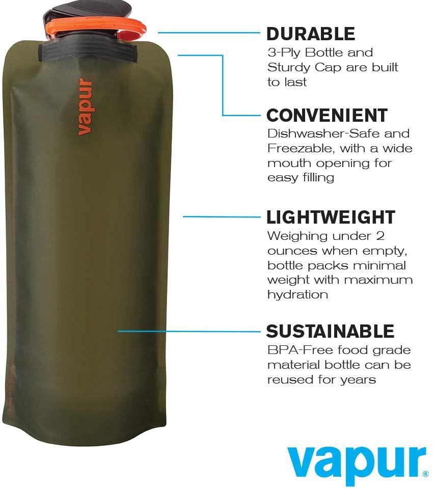 Vapur Eclipse 可重复使用 可折叠 可便携 可冷凍耐用水瓶