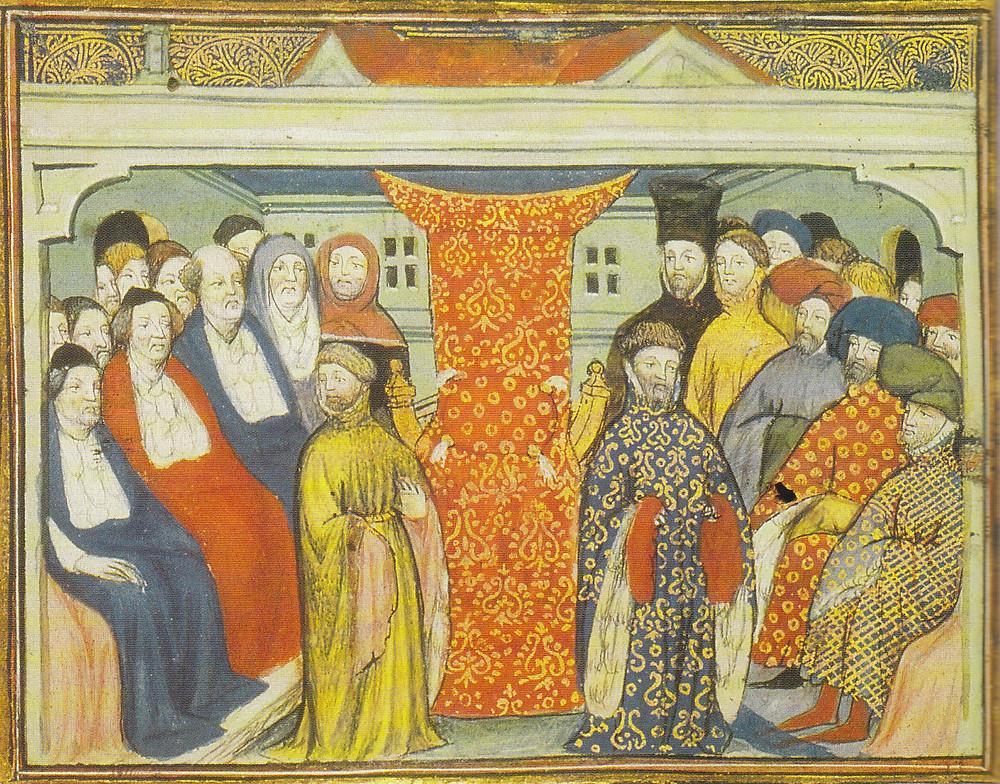 被上議院議員擁立的博林布魯克的亨利於1399年即位(珍藏於大英圖書館哈雷圖書館的當代手稿)