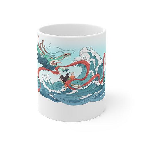哪吒鬧海 手工創意繪圖 Nezha Tumbles the Sea ~ Ceramic mug (11oz)