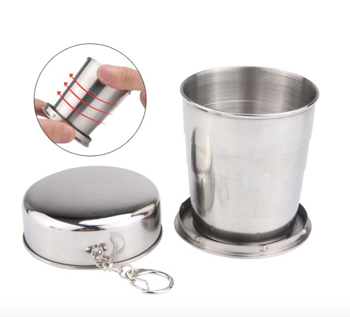 不銹鋼折疊杯 便攜式 可拆卸 可折疊杯子鑰匙扣