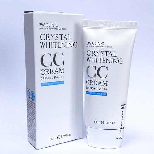 韓國亮白 抗皺 防曬CC自然遮蓋霜 Unique 3W CLINIC Crystal Whitening CC Cream SPF50 PA+++ 50ml