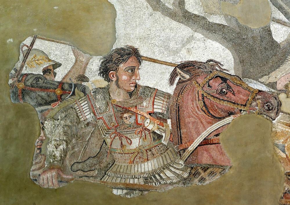 亞歷山大與波斯王大流士三世戰鬥。那不勒斯國立考古博物館,亞歷山大馬賽克。