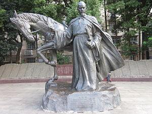 辛弃疾雕像,位于长沙市营盘街,当年他建立飞虎军的地址