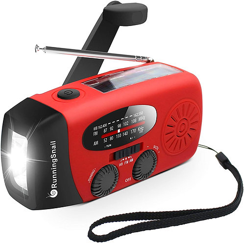 RunningSnail Emergency Solar/Hand Crank Self Powered AM/FM NOAA Radio 2020