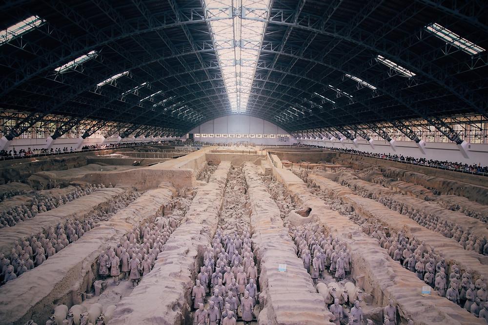 秦始皇帝陵陪葬兵馬俑一號坑·兵馬俑一號坑·西安臨潼·(正面)