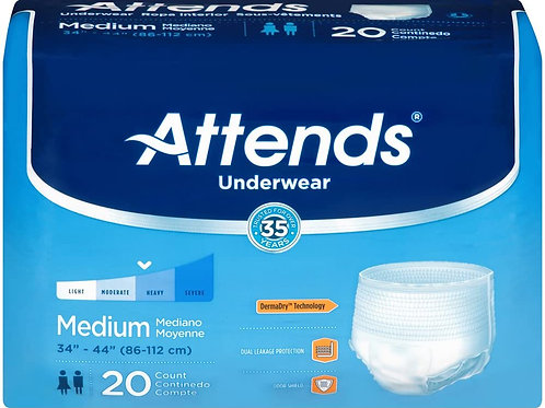 一次性成人內褲 中號 男女通用 Attends Extra Adult Underwear, Medium, Moderate Absorbency