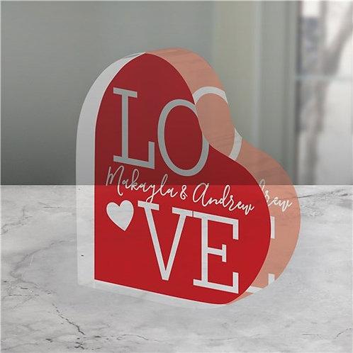 Personalized L.O.V.E. Acrylic Heart Keepsake