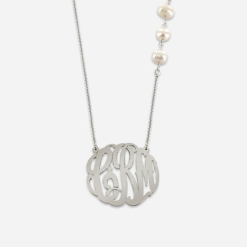 Sterling Silver Monogram necklace with Fresh Water Pearls