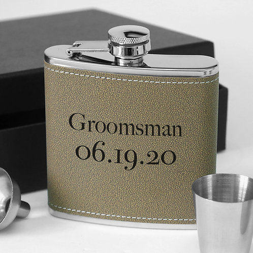 Groomsman Personalized 6oz Leather Steel Flask Set w/ Gift Box