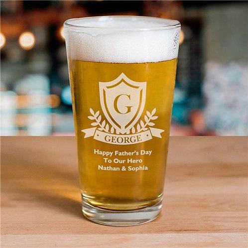 Engraved Crest Beer Glass