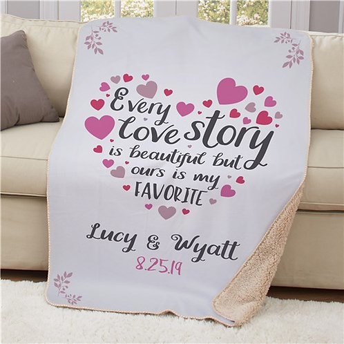 Personalized Every Love Story Sherpa Blanket