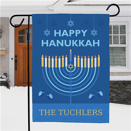 Personalized Happy Hanukkah Garden Flag