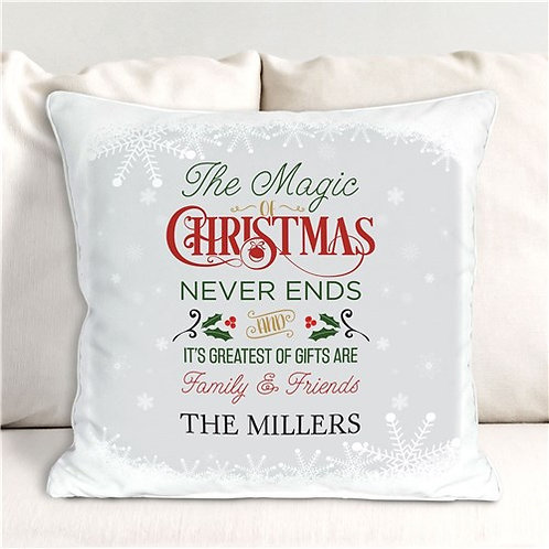 Personalized The Magic Of Christmas Throw Pillow