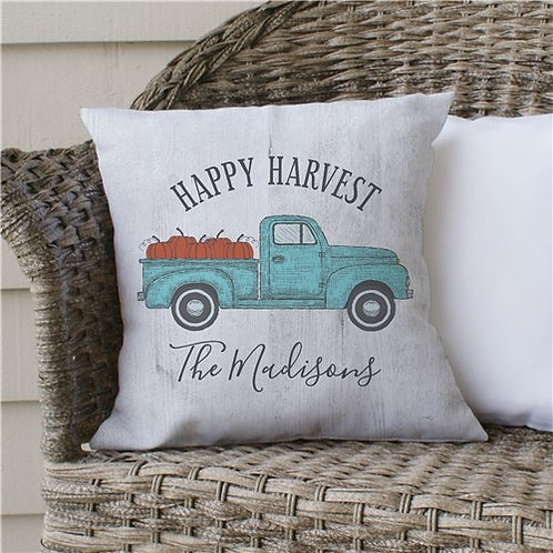 Personalized Happy Harvest Throw Pillow