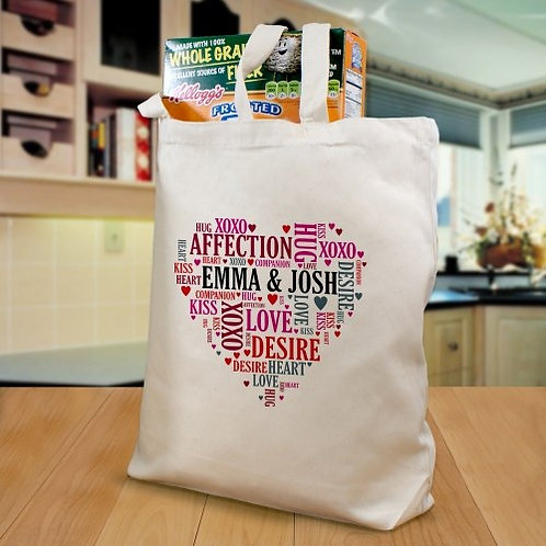 Couples Heart Tote Bag
