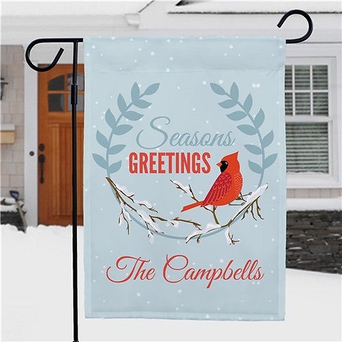 Personalized Seasons Greetings Cardinal Garden Flag