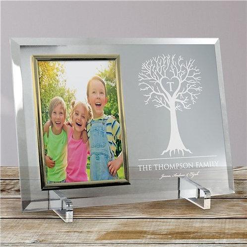 Engraved Family Tree Beveled Glass Frame