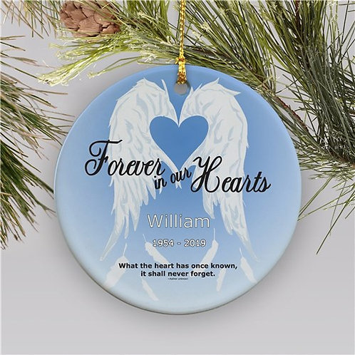 Forever In Our Hearts Ceramic Personalized Memorial Christmas Ornament