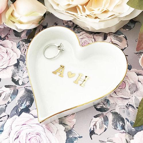Couple Monogram Heart Shaped Ring Dish