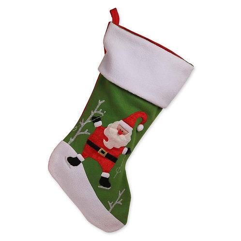 Ice Skating Santa Non-Personalized Christmas Stocking