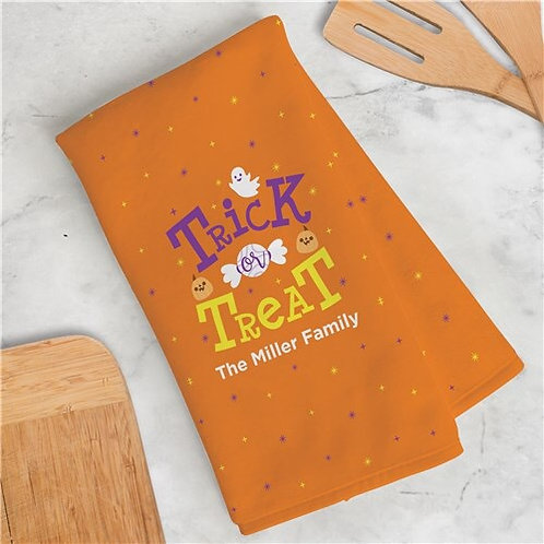 Personalized Trick or Treat  Dish Towel