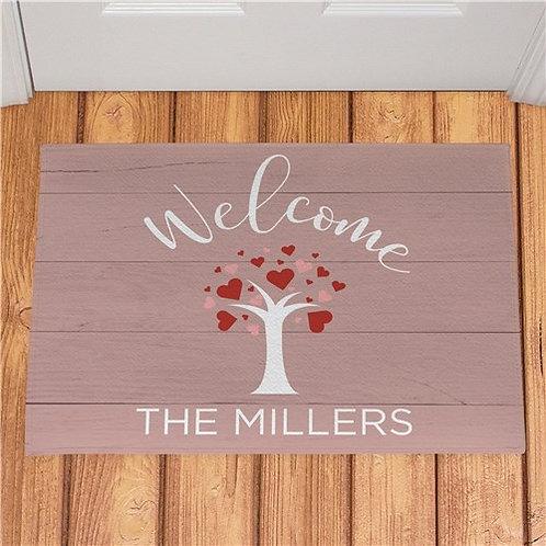 Personalized Welcome Hearts Tree Doormat