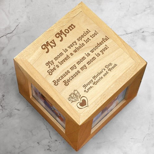 Engraved Photo Cube for Mom