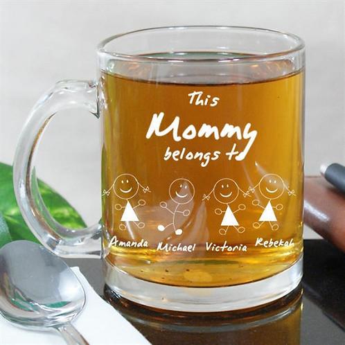 Engraved 'Belongs To' Glass Mug