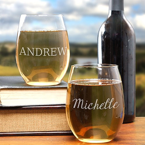 Engraved Any Name Stemless Wine Glass