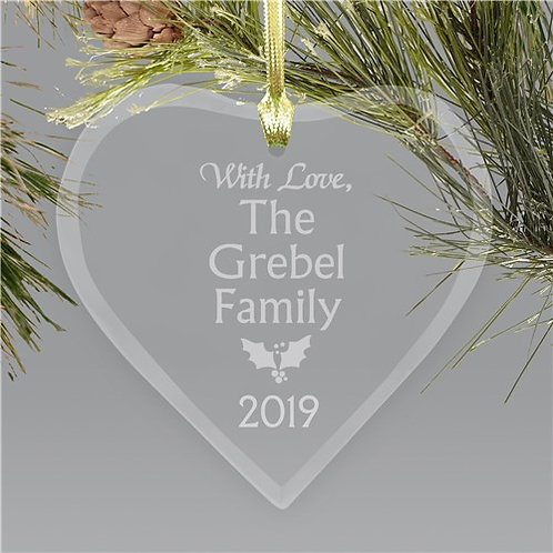 Family Personalized Glass Heart Christmas Ornament